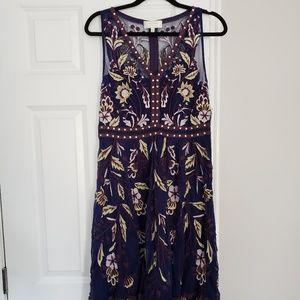 Anthropologie Navy & Maroon Dress - Size 8